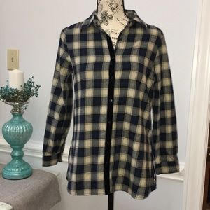 Hannah Blue Plaid And Velvet Button Down Top